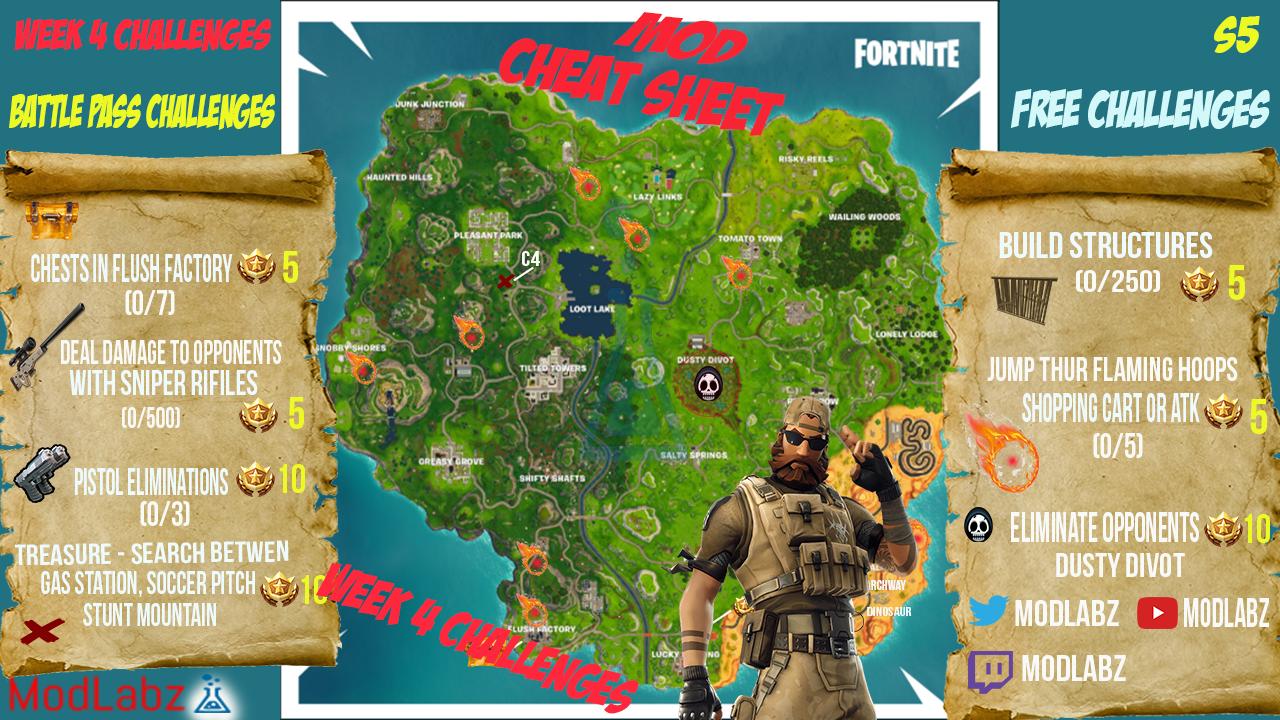MOD Cheat Sheet Guide For Fortnite Battle Royale Season 5 Week 4 Challenges