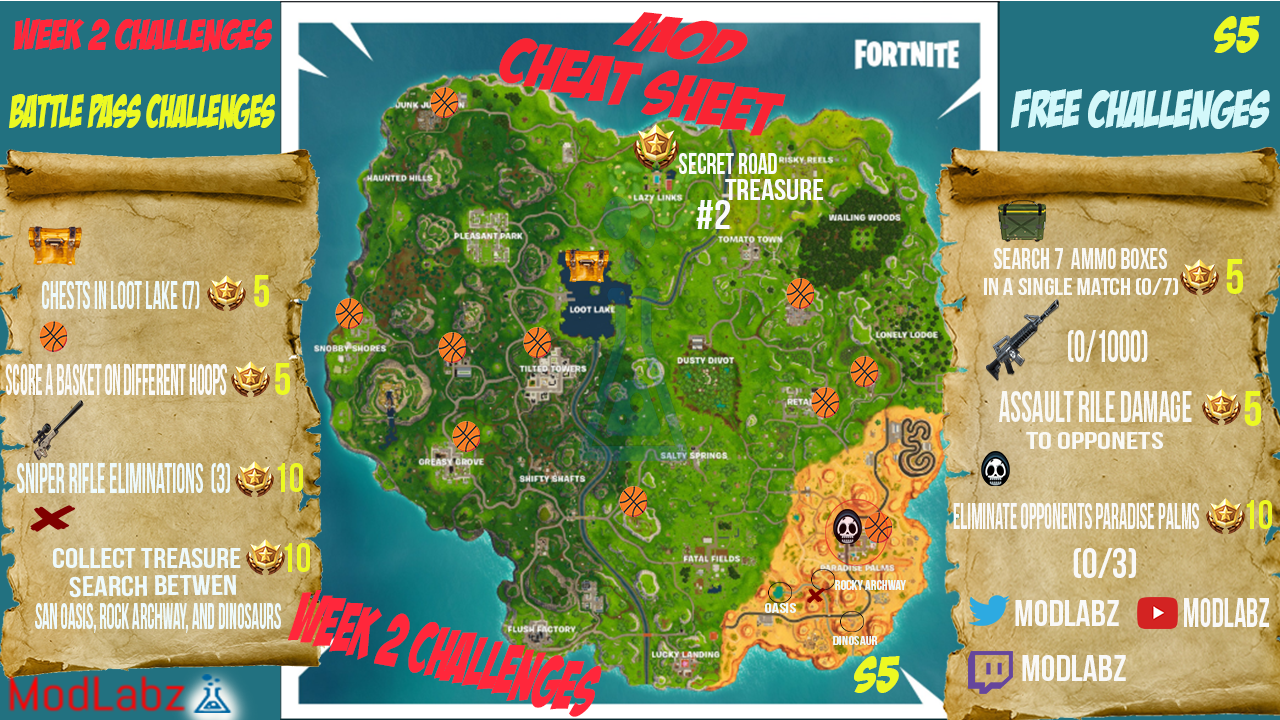mod cheat sheet guide for fortnite battle royale season 5 week 2 challenges - fortnite season 8 week 2 cheat map