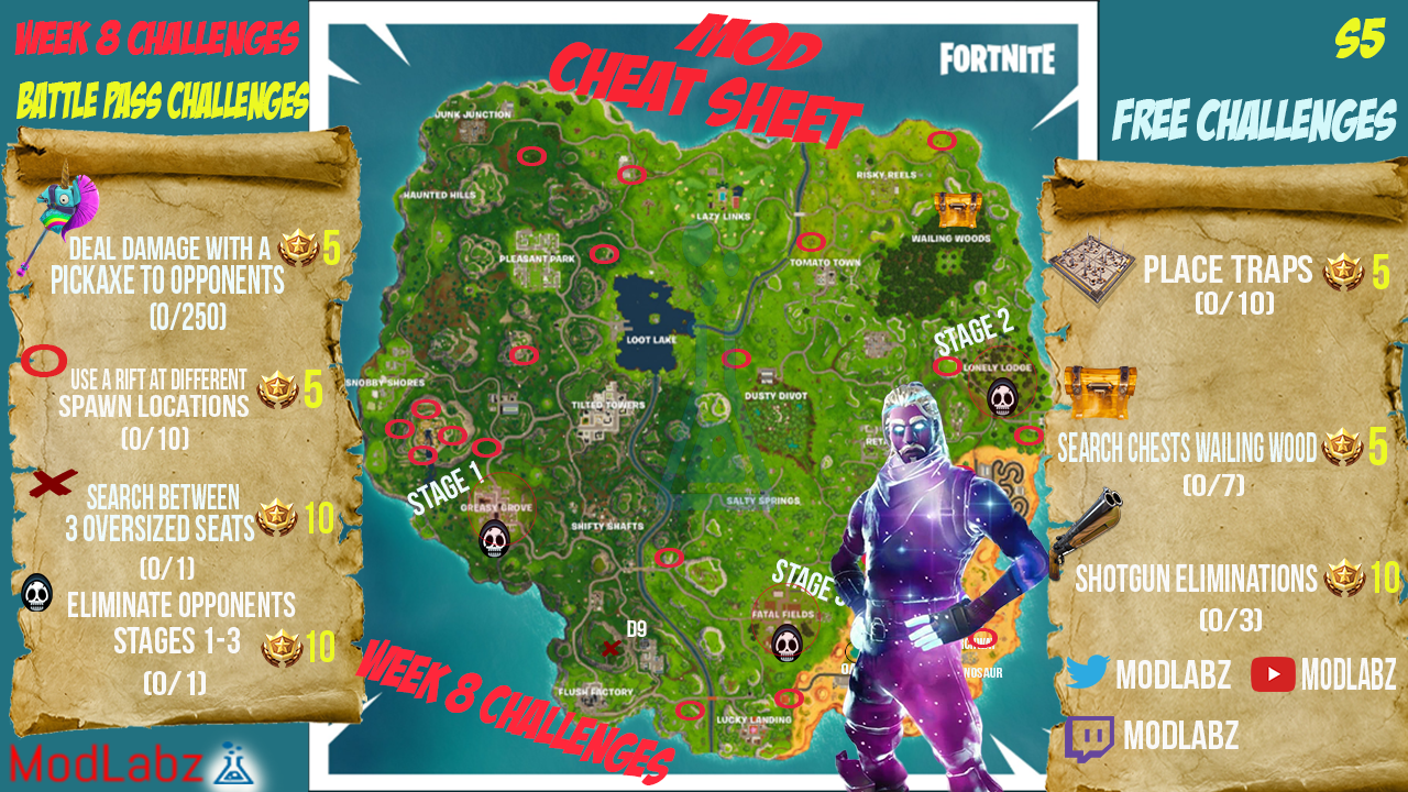 Fortnite week 10 challenges cheat sheet season 8