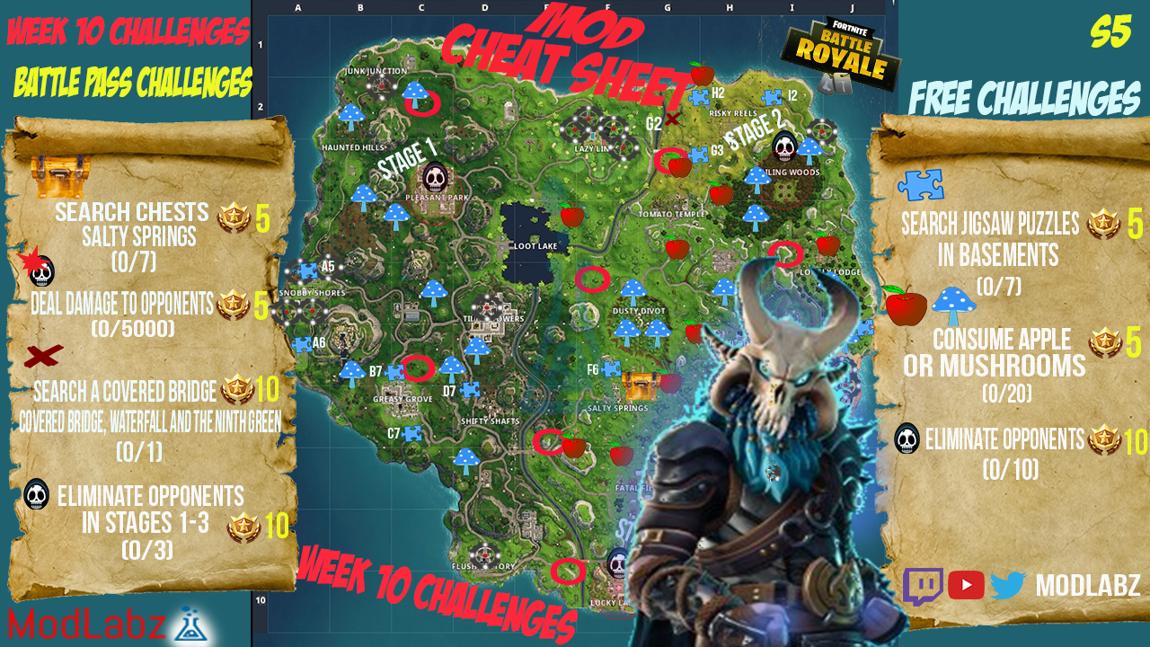 Fortnite Cheat Sheet Map Season 7 Week 1 Challenges Swfoodies
